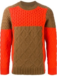 Sacai Paneled Aran Knit Sweater Nude And Neutrals