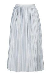 Topshop Tall Jersey Pleat Midi Skirt Ice Blue