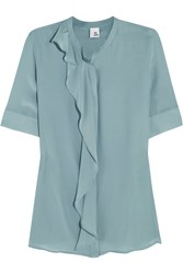 Iris And Ink Adeline Washed Silk Blouse Green