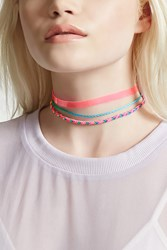 Forever 21 Colorful Choker Set Hot Pink Multi