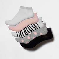 River Island Pink Zebra And Spotted Trainer Socks Pack