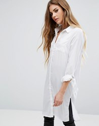 Noisy May Long Shirt With Buckle Bright White