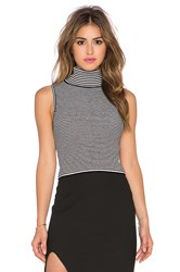 Elizabeth And James Fitted Turtleneck Tank Black And White