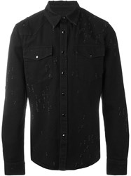 Givenchy Distressed Western Shirt Black