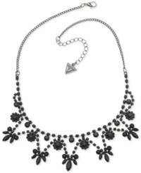 Guess Hematite Tone And Jet Stone Statement Necklace 16 2 Extender Charcoal