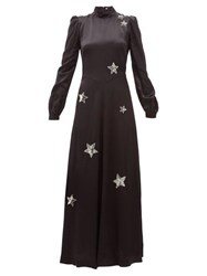 Bella Freud Ophelia Sequinned Star Satin Gown Black