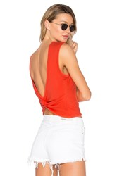 Alexander Wang Open Back Twist Tank Red