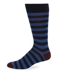 Saks Fifth Avenue Collection Rugby Stripe Socks Navy Black