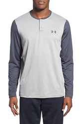 Men's Under Armour 'Infrared Coldgear' Loose Fit Long Sleeve Stretch Henley True Grey Stealth Grey
