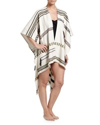 Tory Burch Jacquard Tribal Print Poncho Coverup Women's Ivory