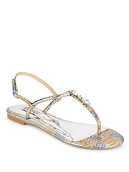 Badgley Mischka Amex Snake Embossed Leather Thong Sandals Silver