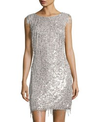 Aidan Mattox Bateau Neckline Beaded Cocktail Dress Silver