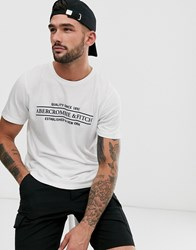 Abercrombie And Fitch Address Logo Print T Shirt In White