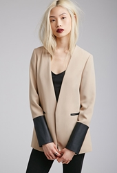 Forever 21 Faux Leather Trimmed Blazer Taupe Black