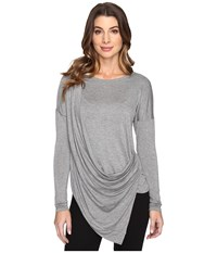 Culture Phit Blithe Long Sleeve Drape Front Top Grey Women's Clothing Gray
