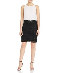 Aidan Mattox Beaded Skirt Dress Ivory Black