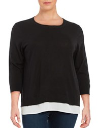 Calvin Klein Plus Lightweight Mock Layered Sweater Black