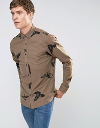 Only And Sons Brushed Cotton Shirt With All Over Bird Print Kangaroo Tan