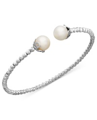 Macy's Pearl Bracelet Sterling Silver Cultured Freshwater Pearl Sparkle Bangle