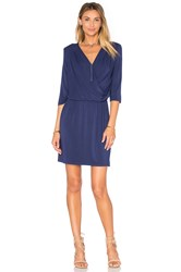 Krisa Deep V Surplice Dress Blue