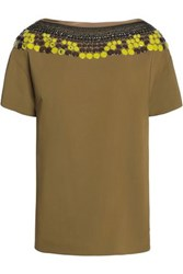 Vionnet Embellished Crepe Top Army Green