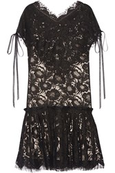 Wes Gordon Beatrix Corded Cotton Blend Lace Mini Dress Black