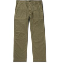 Rrl Cotton Herringbone Trousers Green