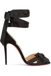Christian Louboutin Christeriva 100 Bow Embellished Grosgrain And Suede Sandals Black