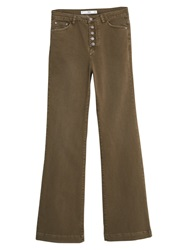 Mango Button Flare Trousers Khaki