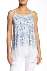 Jolt Lace Trim Tunic Cami Tank Blue