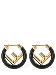 Fendi 250Mm Small Logo Circle F Mono Earring Gold Black