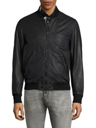 Diesel Powell Leather Bomber Jacket Black