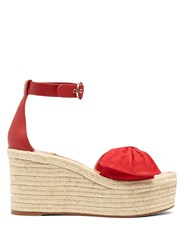 Valentino Tropical Bow Suede Espadrille Wedge Sandals Red
