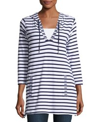 Neiman Marcus Striped 3 4 Sleeve Hooded Tunic White Pattern