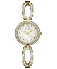 Bulova Women's Crystal Accent Gold Tone Stainless Steel Bangle Bracelet Watch 26Mm 98L225 Two Tone