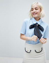 Sister Jane Blouse With Cameo Broach Pussybow And Frill Collar Light Blue