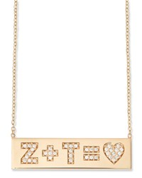Zoe Chicco 14K Pave Initial Equation Id Necklace Gold