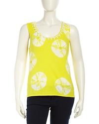 Michael Simon Bead Embellished Lemon Slice Print Top White Yellow