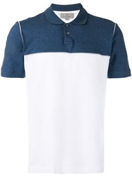 Canali Contrast Panel Polo Top White