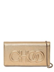 Jimmy Choo Santini Embossed Logo Leather Clutch Gold