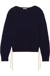 Ulla Johnson Elliot Lace Up Cotton Sweater Navy