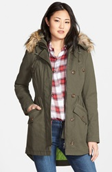 Sam Edelman Twill Pleat Skirt Parka With Faux Fur Trim Hood Online Only Ivy Green