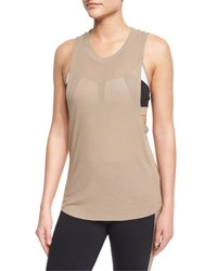 Alo Yoga Heat Wave Sleeveless Ribbed Sport Tank Gravel