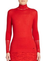 Akris Masai Detail Cashmere And Silk Pullover Red
