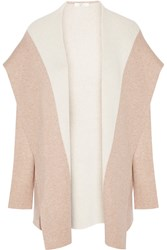 Joie Gredan Two Tone Wool And Cashmere Blend Cardigan Nude