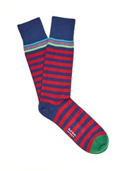 Paul Smith Striped Cotton Blend Socks Red Multi