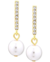 T Tahari Gold Tone Crystal Bar Faux Pearl Drop Earrings