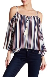 Socialite Cold Shoulder Batwing Print Blouse White