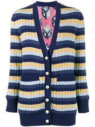 Gucci Stripe Ribbed Cardigan Blue
