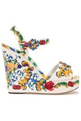 Dolce And Gabbana Woman Embellished Jacquard Wedge Sandals White